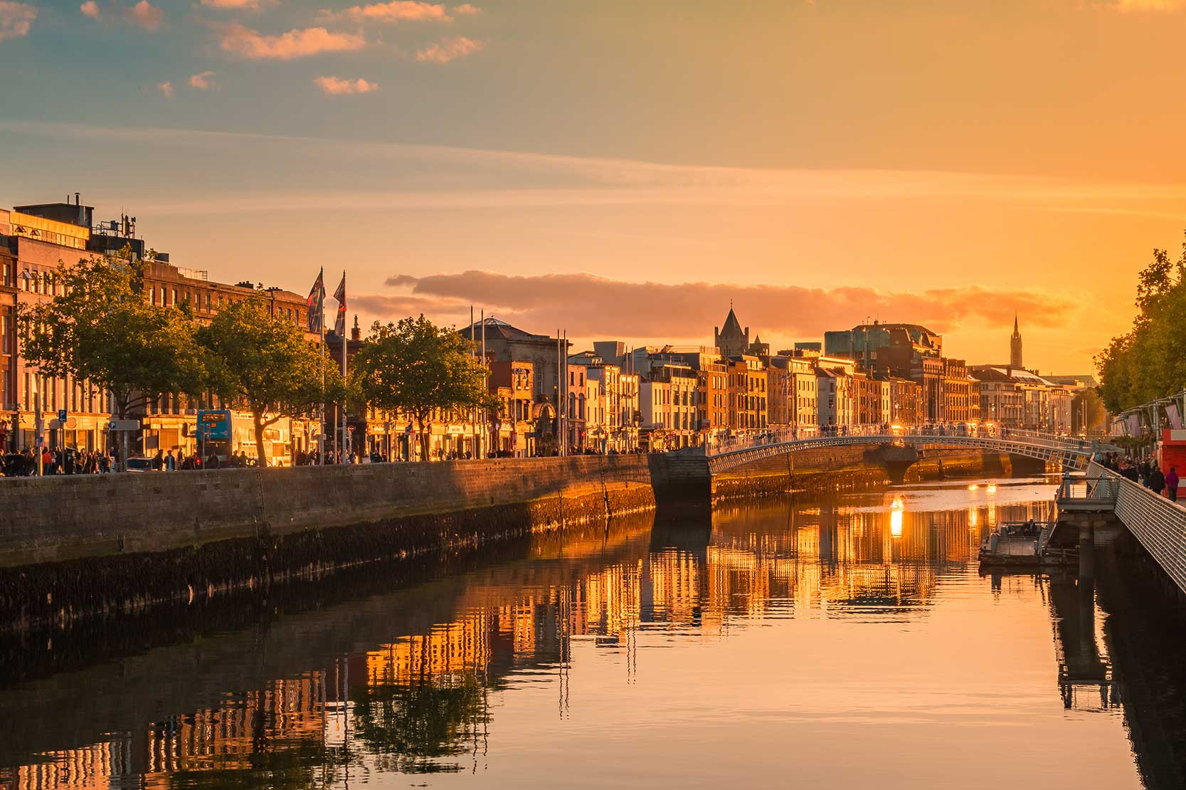 Dublin city with golden hour preset applied