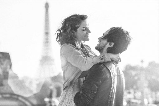 Young Couples in front of the Eiffel Tower