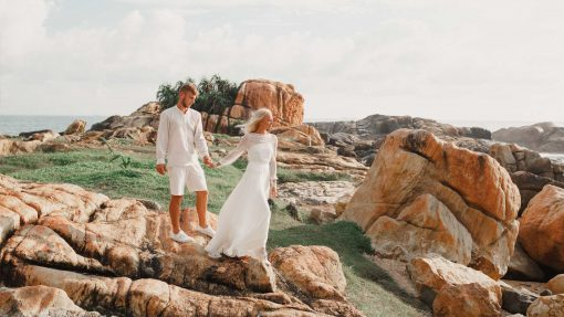 Newlyweds photo on a remote island