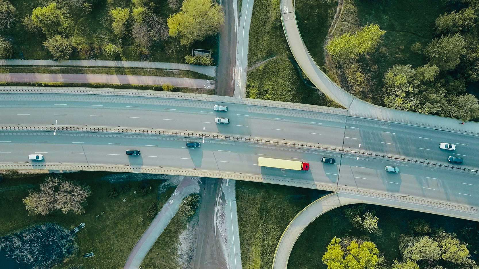 An aerial shot of a road after applying preset.