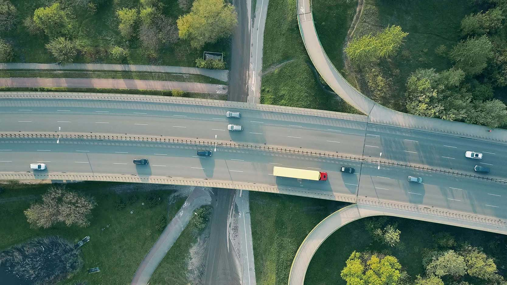 An aerial shot of a road.