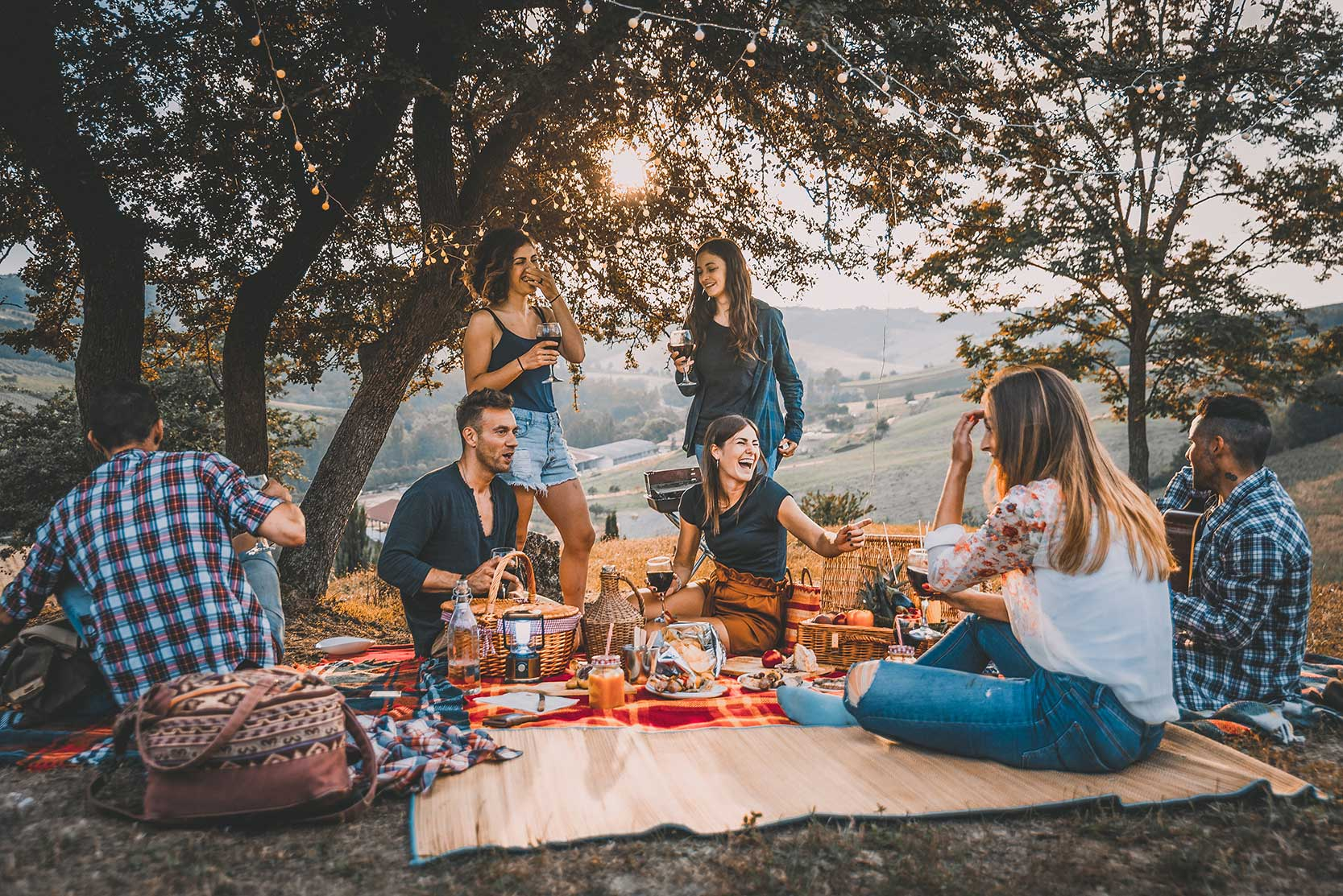 Photo of a friend having a picnic with preset applied.
